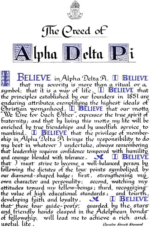 Creed of Alpha Delta Pi