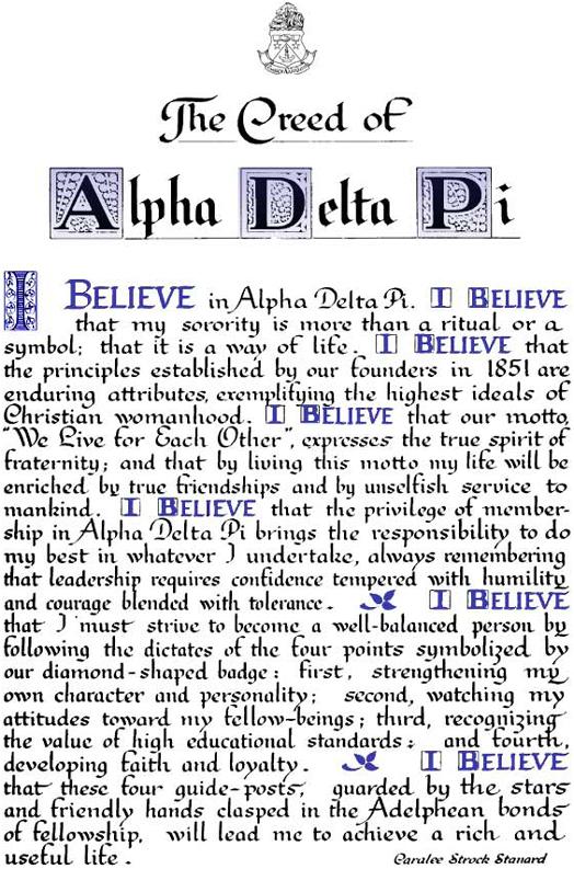 Creed - Alpha Delta Pi